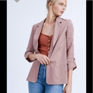 Jackets & Blazers - Mauve cuff sleeve blazer